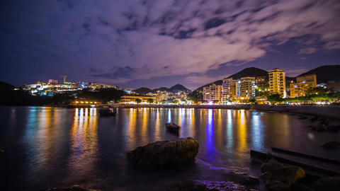 Cloudy Night at Stanley Bay with flashes Stock Video Footage