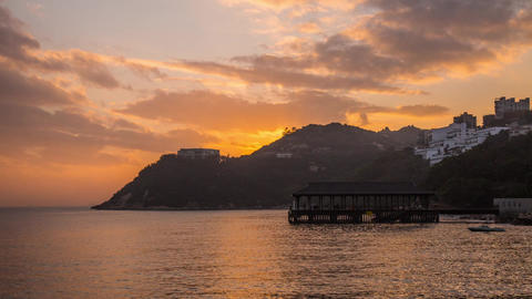 Cloudy Sky at Sunset time in Stanley Bay Stock Video Footage