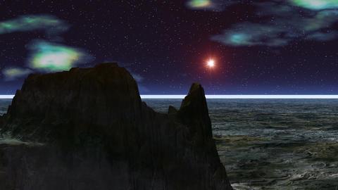 UFO against rocks Animation