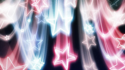 Red, White and Blue Stars Flying In and Out Stock Video Footage