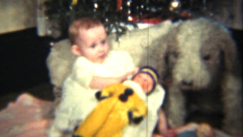 Baby Girl Under The Christmas Tree 1939 Vintage 8mm film Stock Video Footage