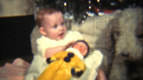 Baby Girl Under The Christmas Tree 1939 Vintage 8mm film Footage