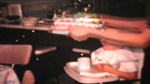 Birthday Boy Blows Out Candles 1965 Vintage 8mm film Stock Video Footage