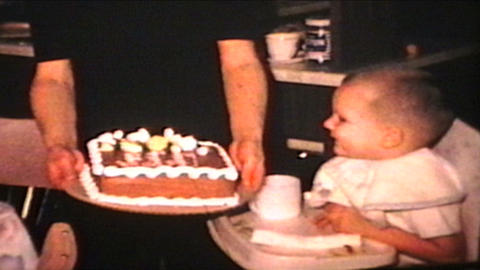Birthday Boy Blows Out Candles 1965 Vintage 8mm film Footage