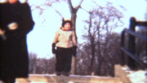 Girl Having Fun In The Snow 1942 Vintage 8mm film Stock Video Footage