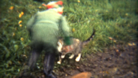 Girl Plays With Cats And Dogs 1941 Vintage 8mm film Stock Video Footage