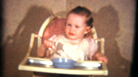 Little Girl Eating Her Dinner 1940 Vintage 8mm film Stock Video Footage