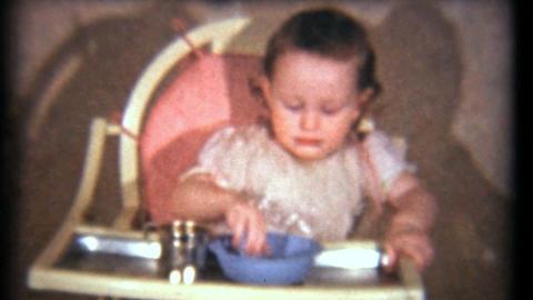 Little Girl Eating Her Dinner 1940 Vintage 8mm film Stock Video Footage