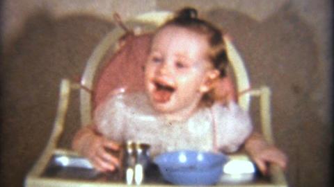 Little Girl Eating Her Dinner 1940 Vintage 8mm film Footage