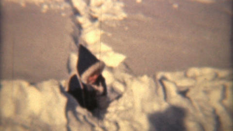 Little Girl Plays In The Snow 1940 HD Vintage 8mm film Stock Video Footage