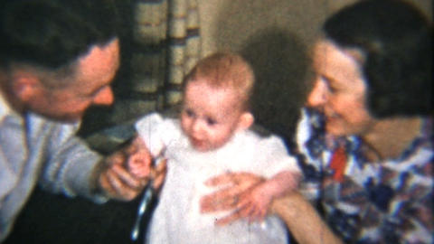 Proud Parents With Their Baby Girl 1939 Vintage 8mm film Stock Video Footage