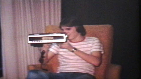 Teenager Gets Clock Radio For Birthday 1978 Vintage 8mm film Footage