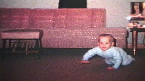 Baby Crawling And Playing With Bear 1963 Vintage 8mm film Footage