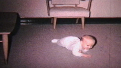 Baby Commando Crawling 1964 Vintage 8mm Film stock footage