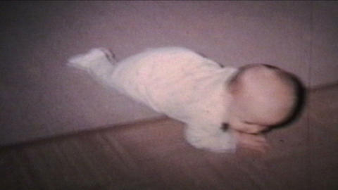 Baby Commando Crawling 1964 Vintage 8mm film Stock Video Footage