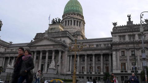 Undershot of Argentinian Congress at dusk Footage