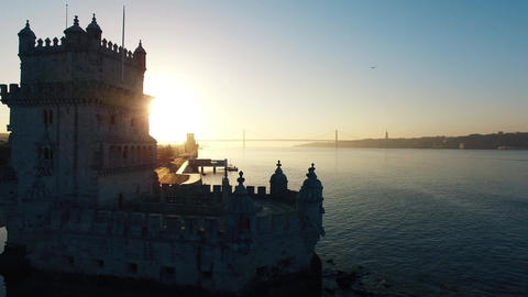 Belem Tower at morning Lisbon aerial view Footage