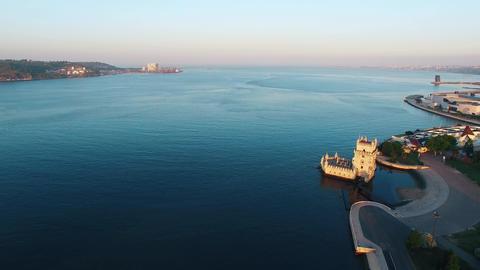 Belem Tower at morning Lisbon aerial view ビデオ