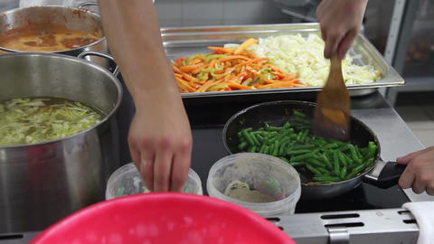 Close-up of chefs prepare food on a plate Footage