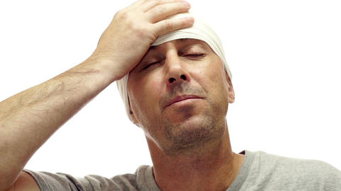 Male Takes Migraine Medication Isolated on White Footage