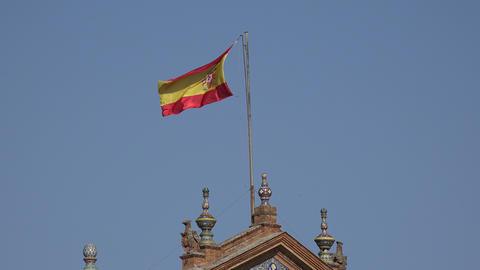 Spanish Flag On Flagpole Live Action