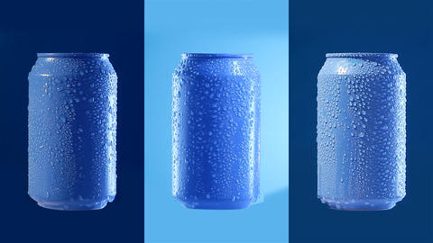 Mockup Of Can On Blue. Loopable Filmmaterial