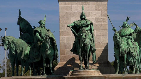 The monument, a sculpture at Heroes' Square in Budapest Live Action