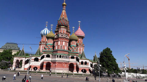 Saint Basil's Cathedral and Upper Trading Rows on Red Square, tracking shot Footage