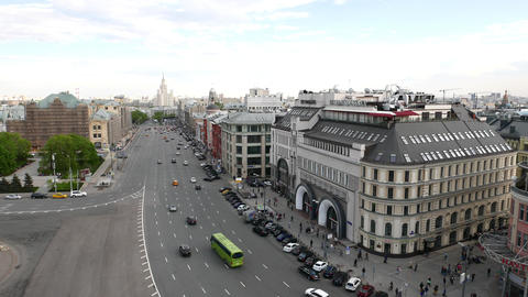Aerial view on Lubyanka Square and Novaya Square, Moscow cityscape Live Action