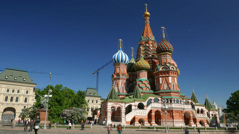 Saint Basil's Cathedral, tourists scurry around square, time lapse shot Footage