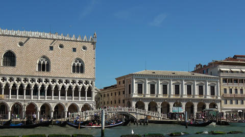 Famous Doge´s Palace in Venice at St. Mark´s Place Live Action