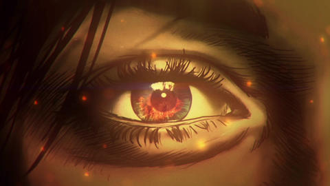 Cartoon woman eye watching on to big fire CG動画素材