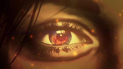 Cartoon woman eye watching on to big fire Animation