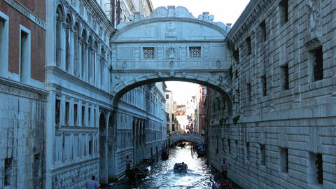 Famous Ponte dei Sospiri in Venice at Doge´s Palace Footage