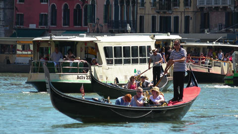 Gondolas and Waterbuses in Venice Live Action