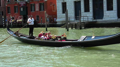 The most famous tourist attraction in Venice - the Gondola service Footage