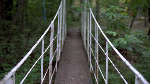 Passage over the bridge in the middle of the forest. First-person view Live Action