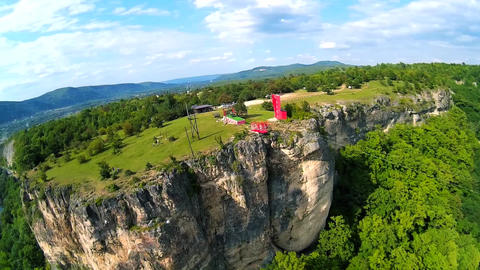 Aerial drone video of rocks and green canyon of Adygea Live Action