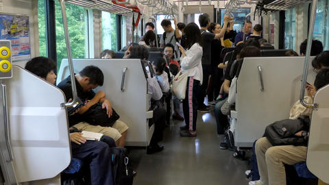 Japanese People Traveling On Local Train In Sendai Japan Asia Live Action