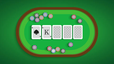 Poker table with a combination of royal flush Live Action