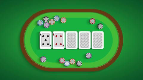 Poker table with a combination of five low Live Action