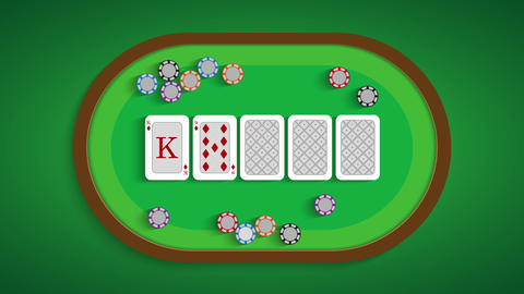 Poker table with a combination of flush Live Action