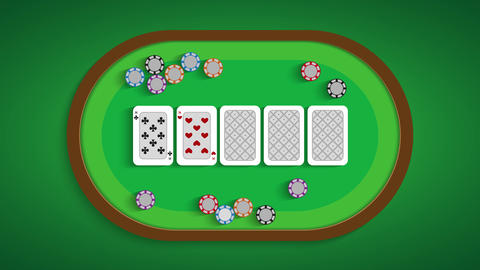 Poker table with a combination of four of a kind Live Action