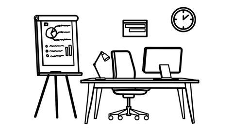 Workplace whiteboard animation 4K footage Footage
