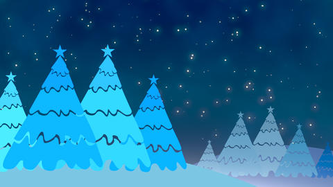 Christmas tree and white snowflakes, stars falling Videos animados
