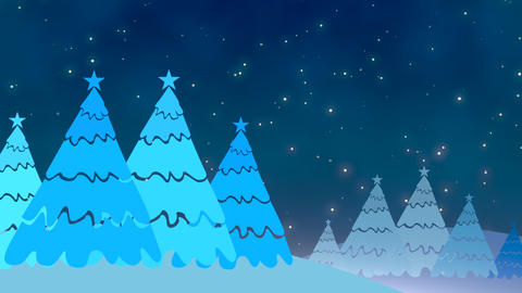 Christmas tree and white snowflakes, stars falling Stock Video Footage