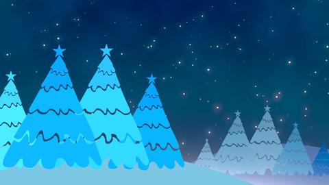 Christmas tree and white snowflakes, stars falling, Stock Animation