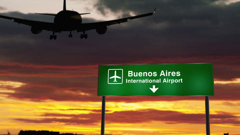 Plane landing in Buenos Aires Animation