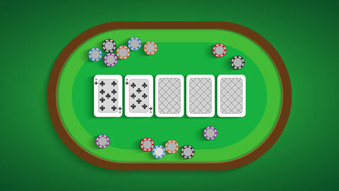 Poker table with a combination of a straight flush Live Action