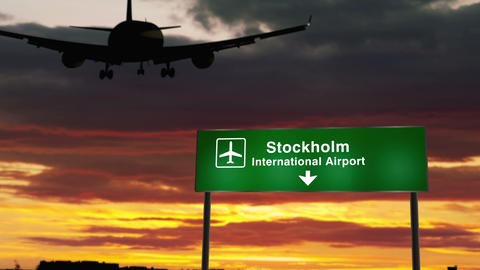 Plane landing in Stockholm Animation